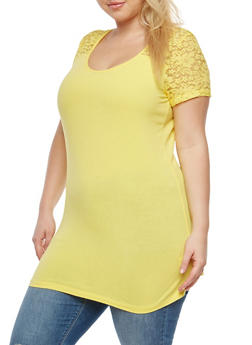 Plus Size Lace Yoke T Shirt - 1915054266299