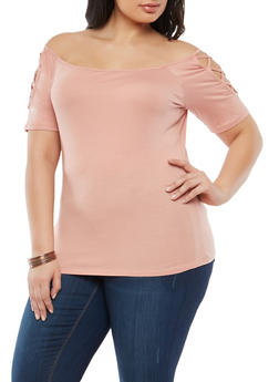 Plus Size Caged Off the Shoulder Top - 1915054266588