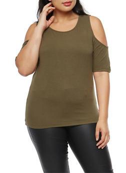Plus Size Basic Cold Shoulder Top - OLIVE - 1915054266966