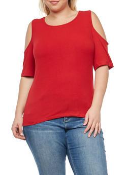 Plus Size Basic Cold Shoulder Top - 1915054266966