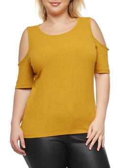 Plus Size Basic Cold Shoulder Top - 1915054266966