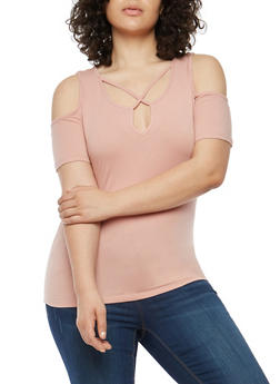 Plus Size Caged Neck Cold Shoulder Top - 1915054266992