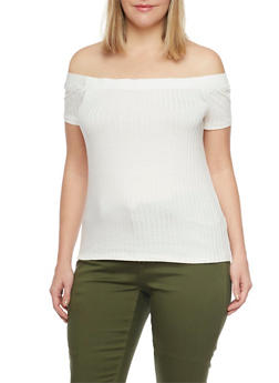 Plus Size Off The Shoulder Ribbed Top - 1915054267234