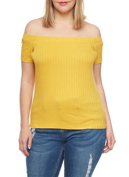 Plus Size Off The Shoulder Ribbed Top - MUSTARD - 1915054267234