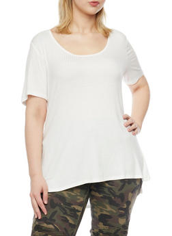 Plus Size Ribbed Top with High Low Hem and Side Slits - 1915054268659