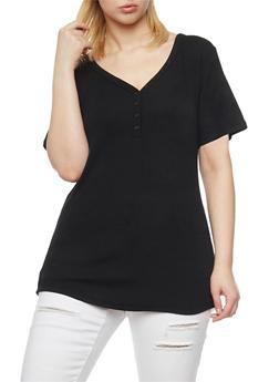 Plus Size Rib Knit Henley T Shirt - 1915054268801