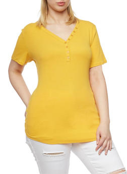 Plus Size Rib Knit Henley T Shirt - MUSTARD  NEW - 1915054268801