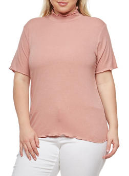 Plus Size Basic Mock Neck Top - 1915054268887