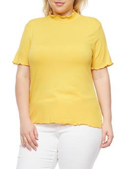 Plus Size Basic Mock Neck Top - MUSTARD - 1915054268887