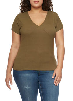 Plus Size Ribbed V Neck Tee - 1915054269231