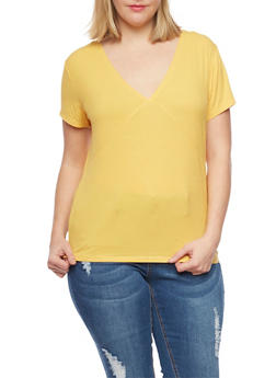 Plus Size Ribbed V Neck Tee - MUSTARD - 1915054269231