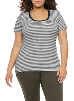Plus Size Striped Rib Knit Tee - 1915054269274