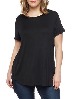Plus Size Twisted Open Back High Low T Shirt - 1915054269320
