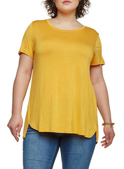 Plus Size Twisted Open Back High Low T Shirt - NEW MUSTARD - 1915054269320