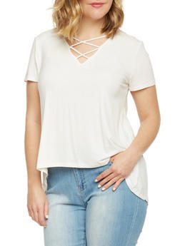 Plus Size Rib Knit High Low Top with Caged V Neck - WHITE - 1915054269326