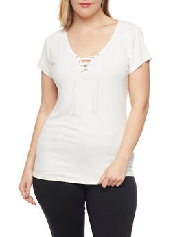 Plus Size Ribbed Lace Up V Neck Top with Short Sleeves - WHITE - 1915054269371