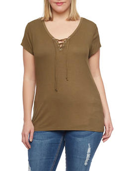 Plus Size Ribbed Lace Up V Neck Top with Short Sleeves - OLIVE - 1915054269371