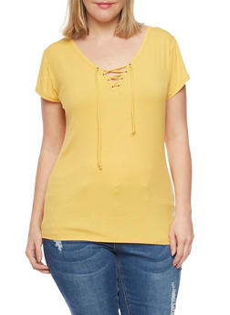 Plus Size Ribbed Lace Up V Neck Top with Short Sleeves - MUSTARD - 1915054269371