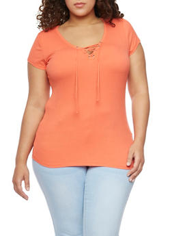 Plus Size Ribbed Lace Up V Neck Top with Short Sleeves - CORAL - 1915054269371