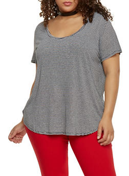 Plus Size Striped Scoop Neck Tee - 1915054269409