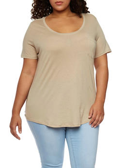 Plus Size Solid Pocket Tee with Back Seam - 1915054269410