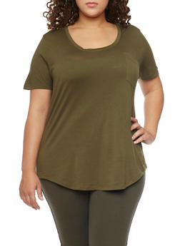Plus Size Solid Pocket Tee with Back Seam - OLIVE - 1915054269410