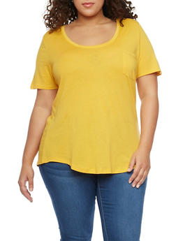 Plus Size Solid Pocket Tee with Back Seam - MUSTARD - 1915054269410