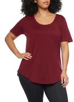 Plus Size Solid Pocket Tee with Back Seam - BURGUNDY - 1915054269410