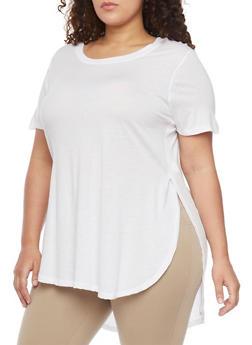Plus Size Tunic Side Slit Shirttail Hem Tee - WHITE - 1915054269411