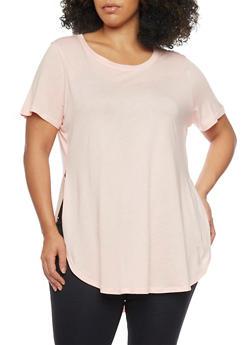 Plus Size Tunic Side Slit Shirttail Hem Tee - BLUSH - 1915054269411