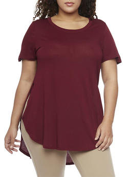 Plus Size Shirt Tail Tee with Side Slits - BURGUNDY - 1915054269411