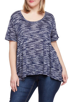 Plus Size Marled Asymmetrical T Shirt - 1915054269425