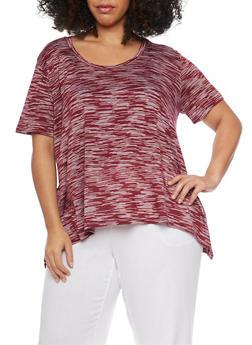 Plus Size Marled Asymmetrical T Shirt - 1915054269425
