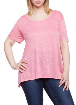 Plus Size Marled Shirttail Top - 1915054269426