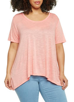 Plus Size Marled Shirttail Top - 1915054269426