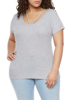 Plus Size Rib Knit Caged Scoop Neck T Shirt - 1915054269473