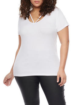 Plus Size Rib Knit Caged Scoop Neck T Shirt - WHITE - 1915054269473