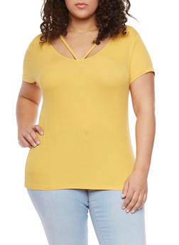 Plus Size Rib Knit Caged Scoop Neck T Shirt - NEW MUSTARD - 1915054269473