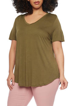 Plus Size Short Sleeve V Neck T Shirt with High Low Hem - OLIVE - 1915054269485