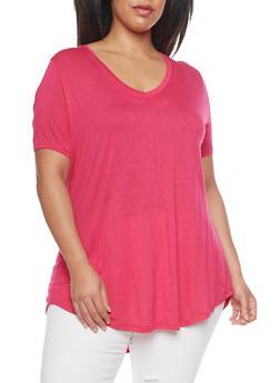 Plus Size Short Sleeve V Neck T Shirt with High Low Hem - 1915054269485