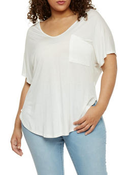 Plus Size High Low V Neck T Shirt - WHITE - 1915054269487