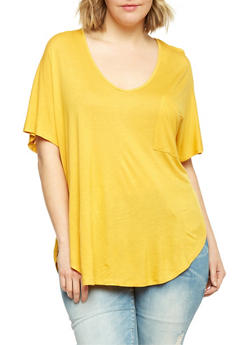 Plus Size High Low V Neck T Shirt - NEW MUSTARD - 1915054269487