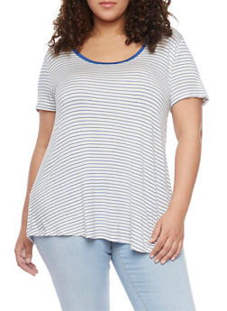 Plus Size Striped Short Sleeve Caged V Back T Shirt - 1915054269488
