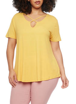 Plus Size Rib Knit Short Sleeve Caged Keyhole Neck T Shirt - NEW MUSTARD - 1915054269489