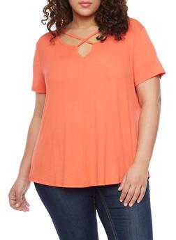 Plus Size Rib Knit Short Sleeve Caged Keyhole Neck T Shirt - 1915054269489