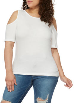 Plus Size Short Sleeve Rib Knit Cold Shoulder Top - 1915054269661