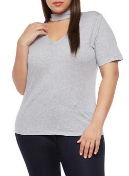 Plus Size Choker Neck Top - 1915054269759