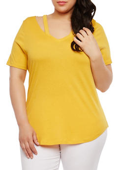 Plus Size Basic Cutout T Shirt - 1915054269891