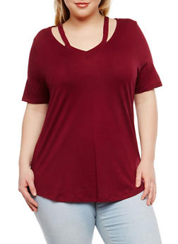 Plus Size Basic Cutout T Shirt - 1915054269891