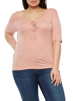 Plus Size Basic Lace Up Top - MAUVE - 1915054269937